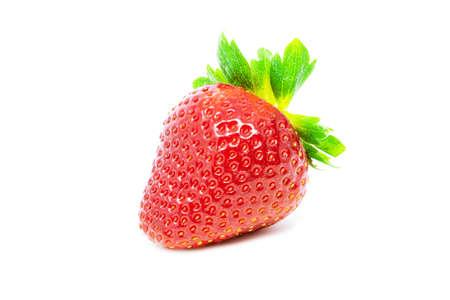 Single fresh strawberry with leaf isolated on white background close up Standard-Bild