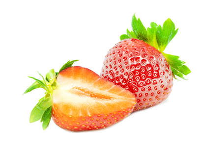 Two fresh strawberries close up on white background isolated