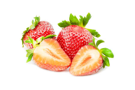 Group of fresh retouched perfect strawberries whole and cut on isolated white background close up