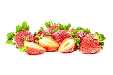 Large group of fresh retouched perfect strawberries whole and cut on isolated white background close up Banco de Imagens