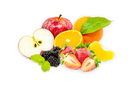 Closeup shot of fresh fruits and berries. Isolated on white background