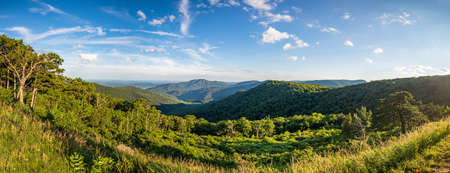 Wide panoramic overview of Shenandoah mountains and hills from above high resolution