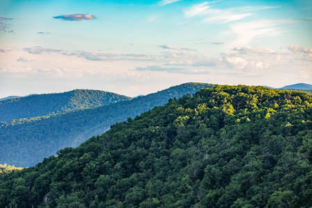 Scenic overlook of Shenandoah blue ridge mountains and hills close up at sunset