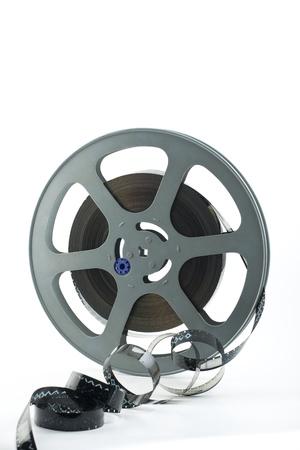 16mm film reel on white background photo