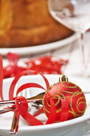 christmas red table  Stock Photo