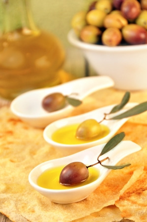 olives with extra virgin olive oil  Stock Photo