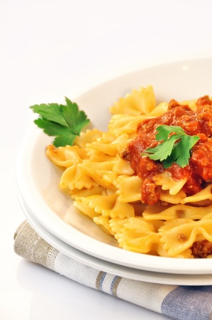italian pasta - farfalle with meat and tomato sauce Stock Photo