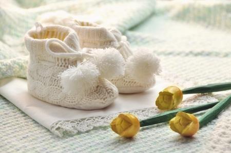 battesimo: baby boy scarpe Archivio Fotografico