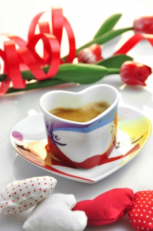 valentine - cup of coffee with cloth hearts