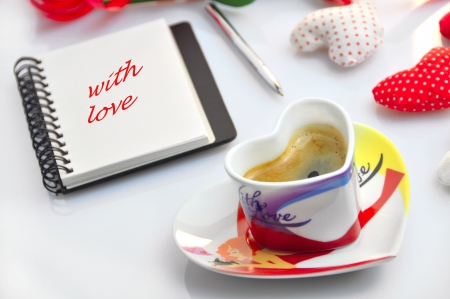 valentine - cup of coffee with diary  Stock Photo