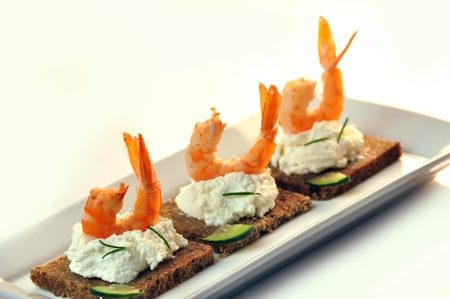 canapes rye bread with ricotta cheese and shrimps Stock Photo - 17697976