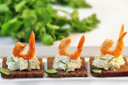 canapes rye bread with ricotta cheese and shrimps Stock Photo - 17697984