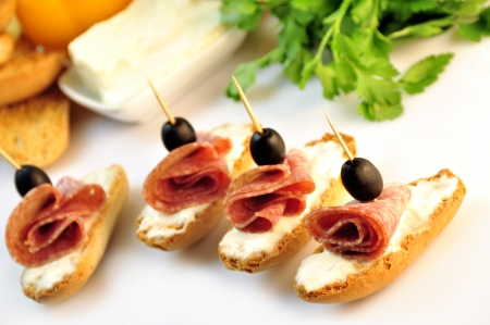 croutons with sliced   8203;  8203;salami cheese and olives Stock Photo - 17697978