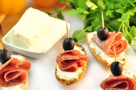 croutons with sliced   8203;  8203;salami cheese and olives Stock Photo - 17697990