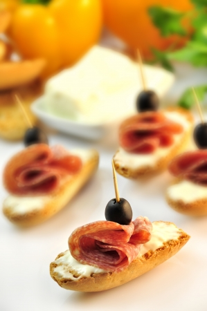 croutons with sliced   8203;  8203;salami cheese and olives Stock Photo - 17697975
