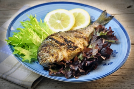 roasted sea bream with salad