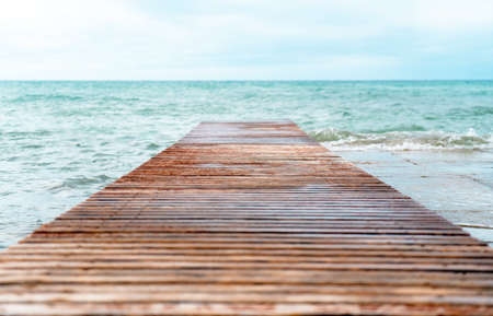 Wooden pier in a cold atmosphere.