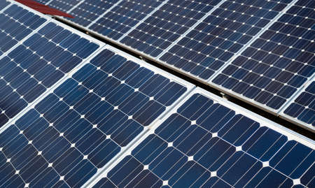 detail of solar panels. Concept of clean energy in the city Stock fotó