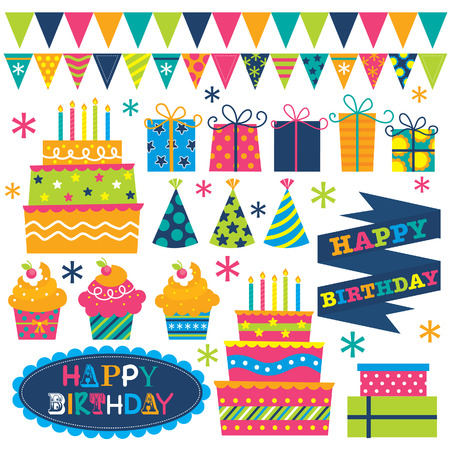birthday hat: Birthday set illustrations