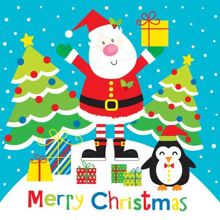 Santa and Penguin Vector