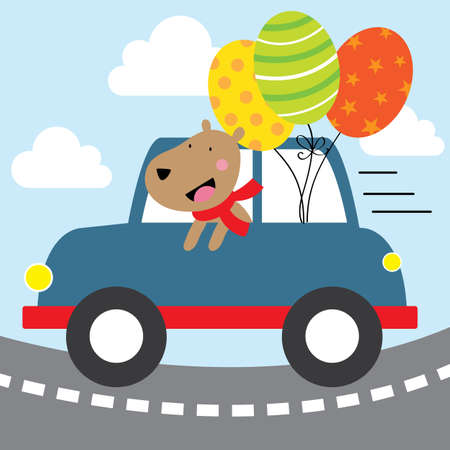 happy dog with blue car design