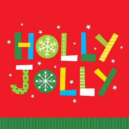holly jolly christmas greeting card on res color background