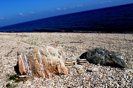 eiszeit: Boulders Eiszeit an den Ufern des Lake Ilmen Lizenzfreie Bilder