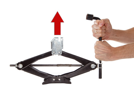 Car jack with arrow up isolated photo