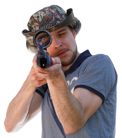 Big eye of aiming shooter in telescopic scope Stock Photo - 37148377