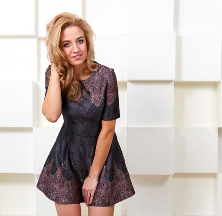 bashful: Sexy bashful girl in short dress