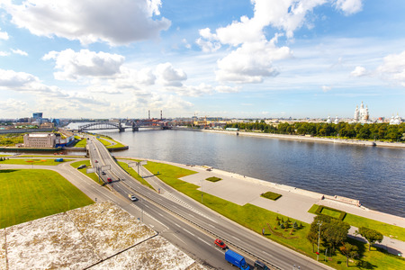 neva: Cityscape of Neva river and Oktyabrskaya embankment Stock Photo