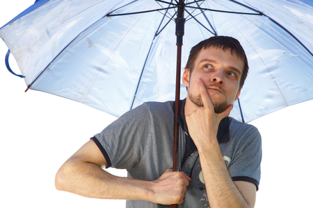 perplex: Puzzled funny man with umbrella on white Stock Photo