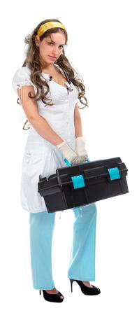 botiquin de primeros auxilios: hermosas m�dico de emergencia con equipo de primeros auxilios