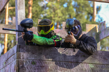 shooters: Two paintball shooters defending wooden tower