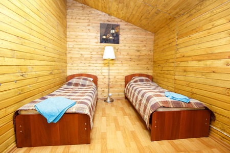 double room: Interior of double room with separate beds Stock Photo