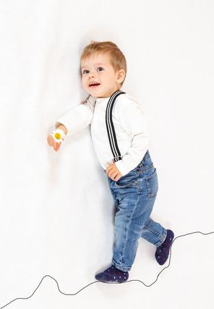 imaginary: Brave little boy scout walking along imaginary path Stock Photo