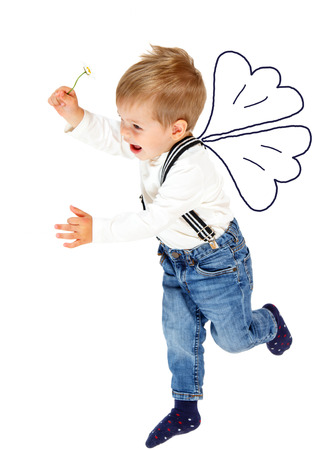 suspenders: Little angel with chamomile flower flying Stock Photo