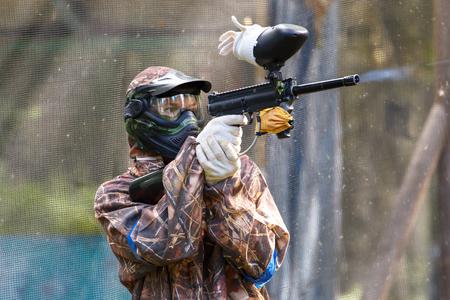 shooter: Smart paintball shooter Stock Photo