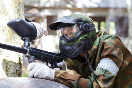 shooter: Shooter in paintball mask Stock Photo