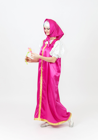 role models: Theatre actress in costume of girl in silk shawl from fairy tale
