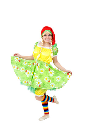 curtsy: Blond girl in fairy carnival costume isolated on white