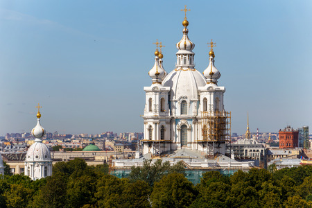 reconstruction: Reconstruction of Russian orthodox cathedral (Smolny cathedral) in Saint-Petersburg