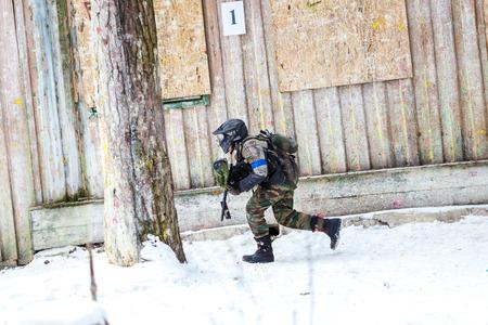 scenario: Saint-Petersburg, Russia - February 21, 2016: Big annual paintball scenario game Day M in Snaker club Editorial