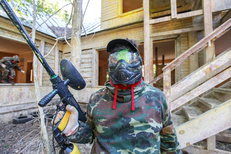 Paintball player got paint headshot during siege of fortress.