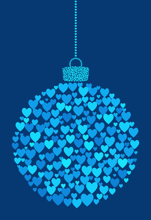 Vector abstract Christmas ball of heart icons.
