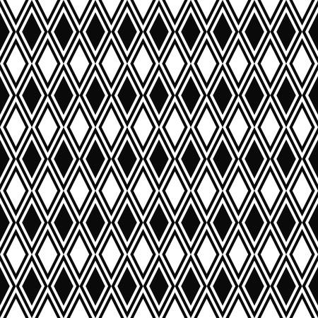 Vector seamless rhombus pattern. Geometric texture. Black-and-white background. Monochrome diamond-shaped design.