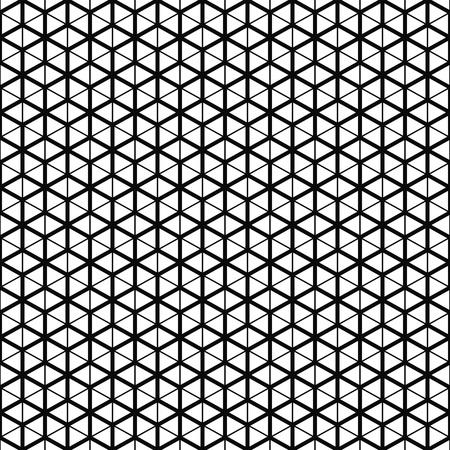 Modèle sans couture de vecteur. Texture de grille de cube. Fond noir et blanc. Conception de ligne monochrome.
