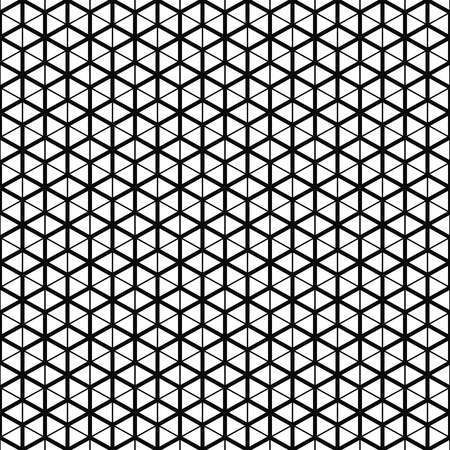 Vector seamless pattern. Cube grid texture. Black-and-white background. Monochrome line design. Иллюстрация