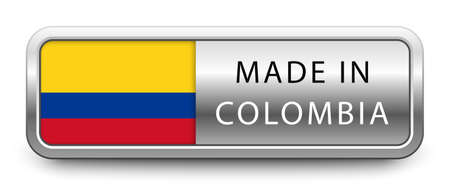 MADE IN COLOMBIA metallic badge  national flag isolated on a white background.  vector file