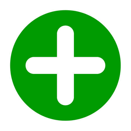 Flat round plus sign green icon, button. Positive symbol isolated on a white background. EPS10 vector file